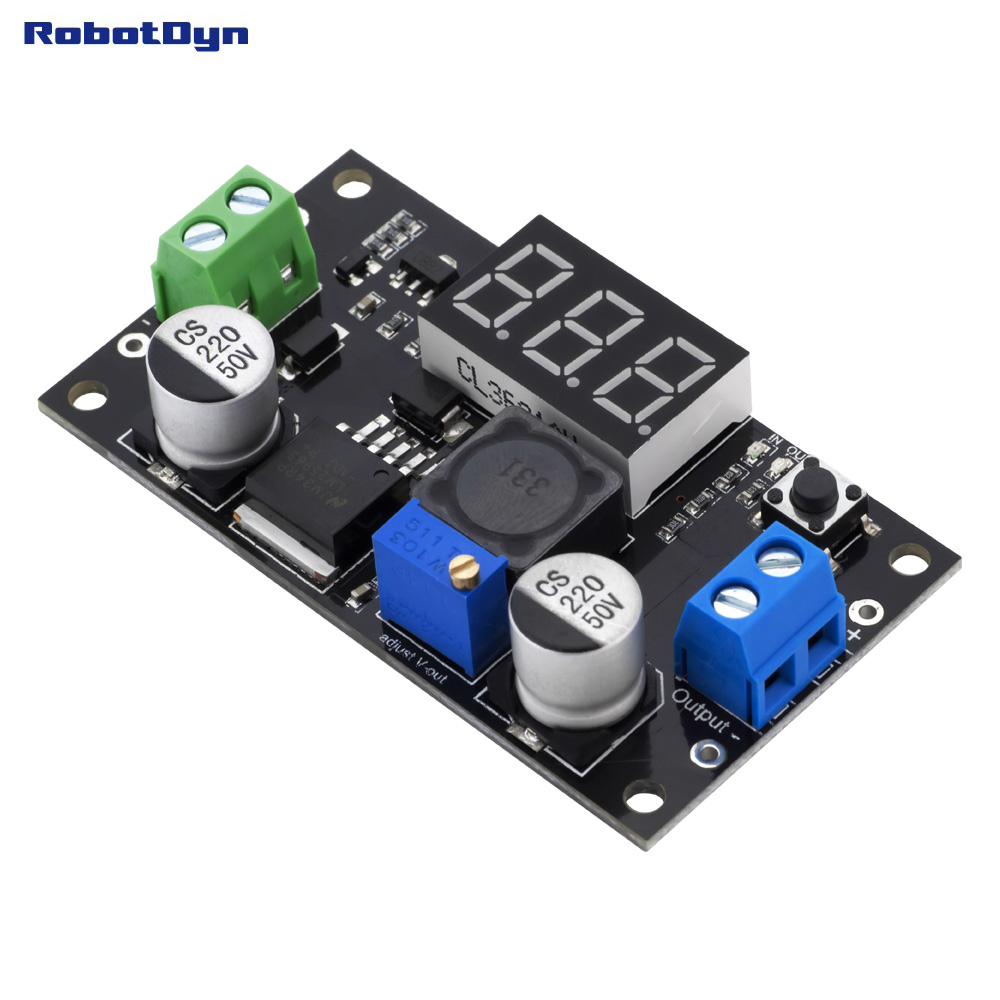 Original LM2596 + LED Display Voltmeter, DC-DC Step-down Buck Adjustable Power Supply Module, VIn: 3~36V, Vout: 1.5~34V. Real 3A