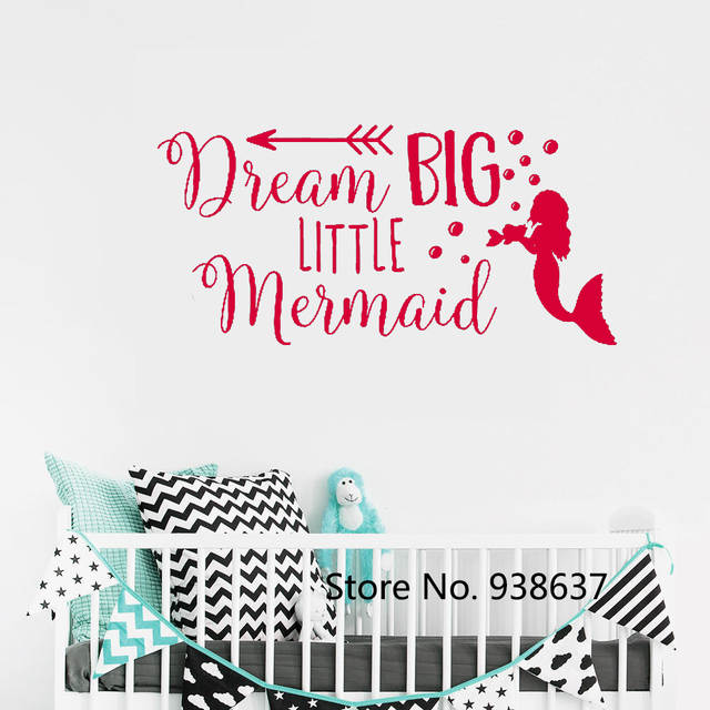 US $5.98 25% OFF|Dream Big Little Mermaid Wall Decal Quote Removable Home  Decoration Vinyl Wall Sticker for Nursery Girls Room Decor Decals ZB619-in  ...