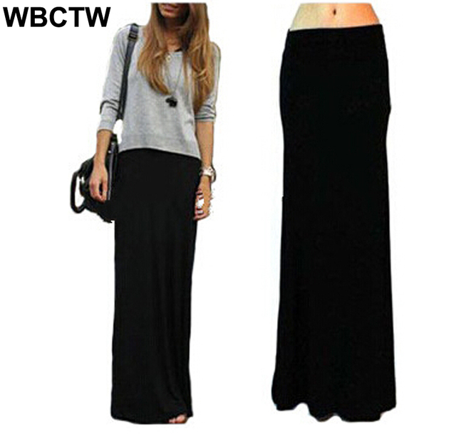 4d36d97224e WBCTW Solid Black Skirts Fashion Women Casual Long Skirt Plus Size Maxi  Skirts Elastic High Waist Elegant 7xl Plus Size Skirts