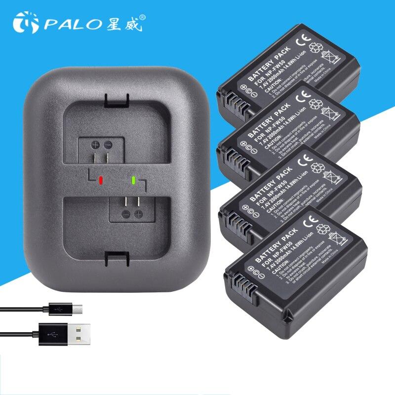 4 pcs 2000 mah NP-FW50 NP FW50 Caméra Batterie + LED USB Double Chargeur pour Sony Alpha a6500 a6300 a6000 a5000 a3000 NEX-3 a7R
