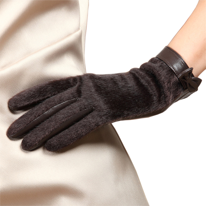 2020 New Genuine Leather Gloves Female Winter Warm Plush Lined Fashion Fur Bowknot Women Lambskin Leather Gloves L152NC-1