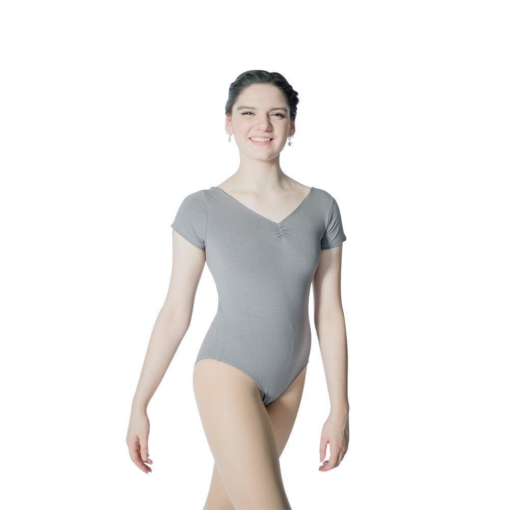 Atacado varejo Preto Algodão/Lycra Manga Curta Leotards Dança Ballet com Pitada Frente para Senhoras e Meninas
