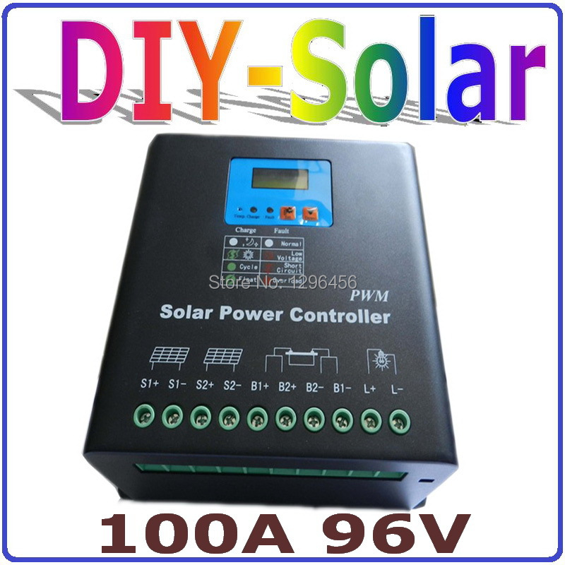 100A Solar Controller LCD PV panel Battery Charge Controller 96V Solar system Home indoor use Dual-fan cooling solar 60a solar charge controller 48v lcd display pv panel battery charge controller solar system home indoor use cm6048
