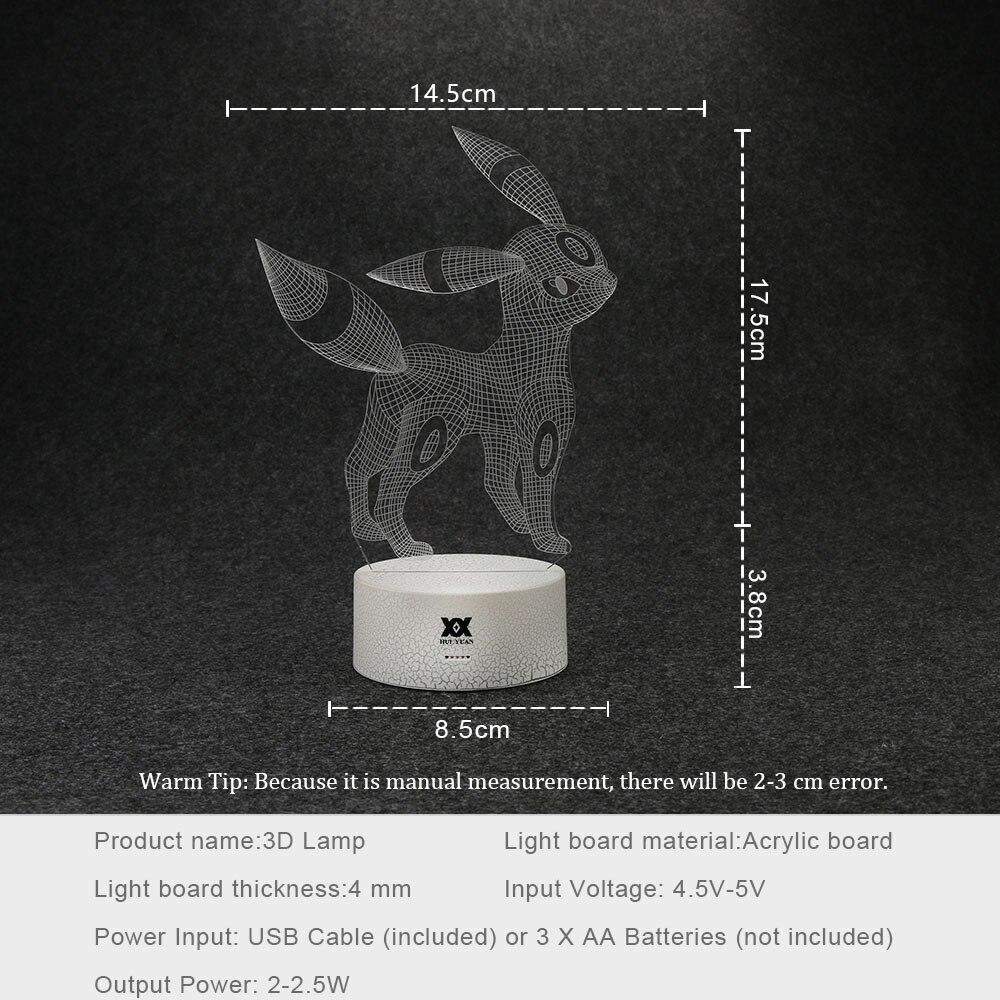Luzes da Noite pokemon umbreon lâmpada 3d ilusão Fonte de Luz : Lâmpadas Led