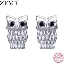 ZEMO Sterling Silver 925 Stud Earring with Zircon Animal Ear Studs for Women OWL Shape Piercing Jewelry Party Gift Lover