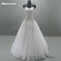 2017 Real Photos Ball Gown Sweetheart Lace Tulle Wedding Dresses Custom Made White Ivory Bridal Gown