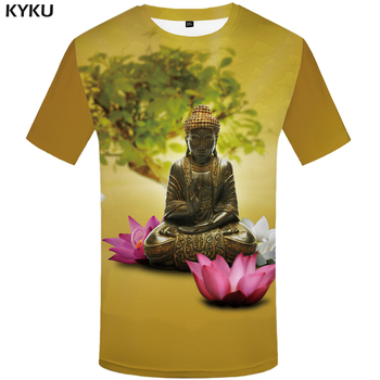 3d Tshirt Buddha T shirt Men Meditation T-shirts Flower Anime Clothes Metal Printed Harajuku Tshirts Casual