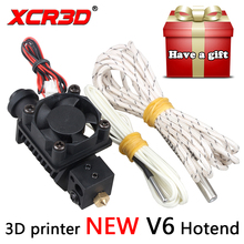 XCR3D 3D Printer Parts V6 Hotend for 1.75mm Filament Straight Through Throat 12V 24V Heater 1M 2M Extruder for DIY Reprap Kossel(China)