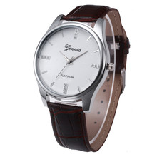 men watchfashion great sale hot top male clock New Men Leather Belt Watch Stainless Steel Dial Quartz Wrist Watch 170329P*21