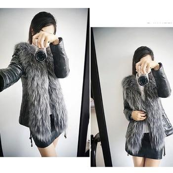 Autumn Winter Coat Warm Long Sleeve Faux Fur Coat PU Leather Fur Jacket