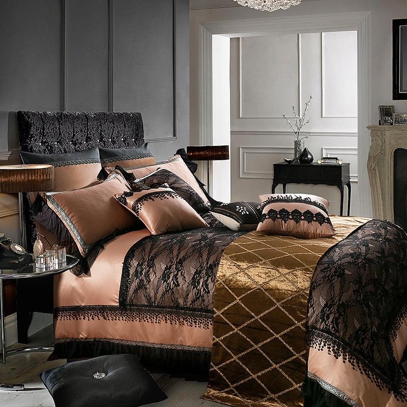 Queen King Size Black Lace Bedding Sets Luxury Silk Cotton Duvet Cover Bed Set Bed Sheet Pillowcase Parure De Lit Ropa De Cama