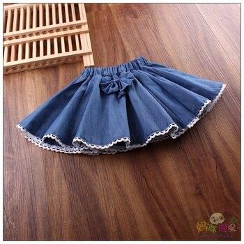 la mejor actitud 1d839 a0637 2019 falda de mezclilla para niñas escolares Mini faldas de moda  encantadora Tutu faldas de vaquero ropa de Jeans sólidos faldas plisadas de  encaje