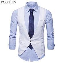 Мужская классическая белая жилетка на одной пуговице, жилетка, костюм для мужчин, новинка, приталенная мужская жилетка, деловой свадебный смокинг