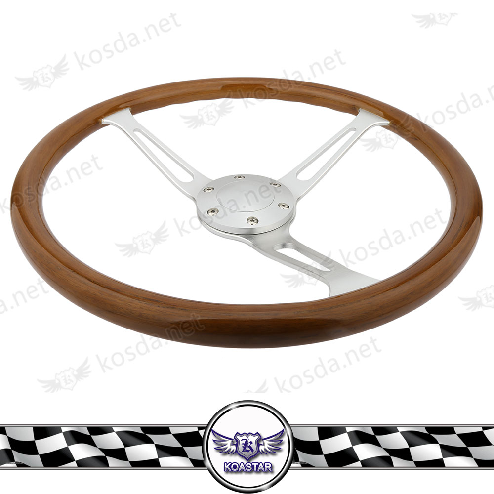 Wooden 380mm 15 Classic steering wheel Chrome Spoke Vintage Classic Wood Grain wood grain print vintage flannel antislip rug