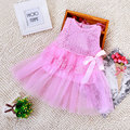 2016 Sweet Summer Spring Toddler Girls Baby Kids Bebe Dress Princess Party Cute Newborn Wedding Big Bow Lace Dress Clothing