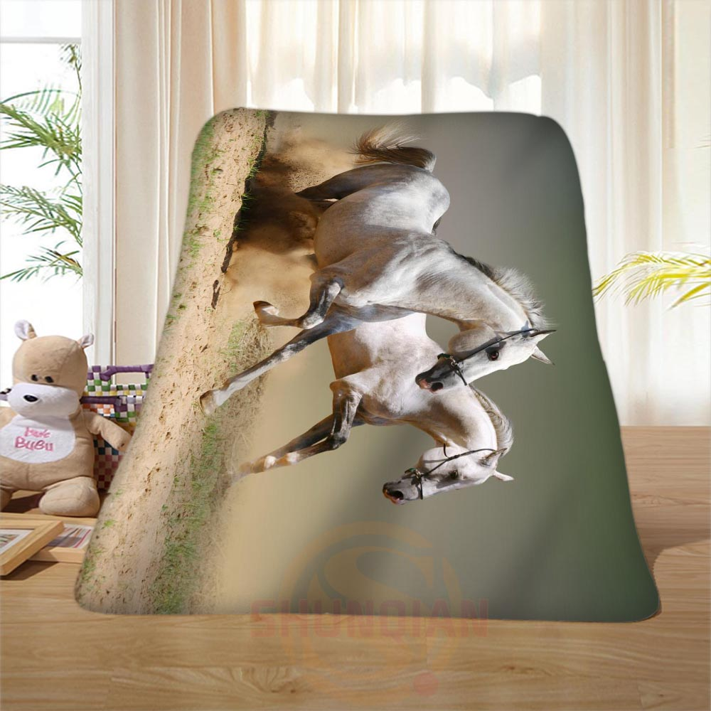 P 108 Custom font b Horse b font 17 Home Decoration Bedroom Supplies Soft Blanket size
