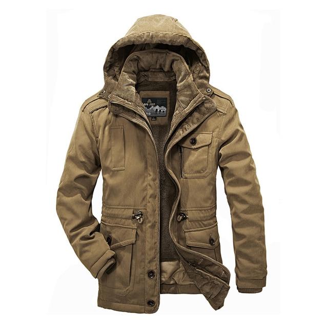 Engrossar Fleece Homens Caots Inverno 2016 New Arrivals Plus Size L-XXXXL Marca Casual Homem Moda Jaqueta Parka Com Capuz Quente Windbreak