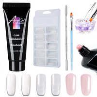 5pcs Poly gel Nail Extension Sets UV LED Builder Nail Gel Fake Tips Dual Ended Pen Acrylic Nail Crystal Poly Gel Kits