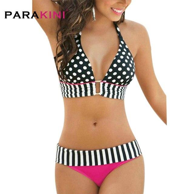 a5e1a709ab02 € 6.61 5% de DESCUENTO|PARAKINI traje de baño de mujer 2018 nuevo estilo de  verano traje de baño Sexy rayas flecos puntos de gran tamaño Bikini ...