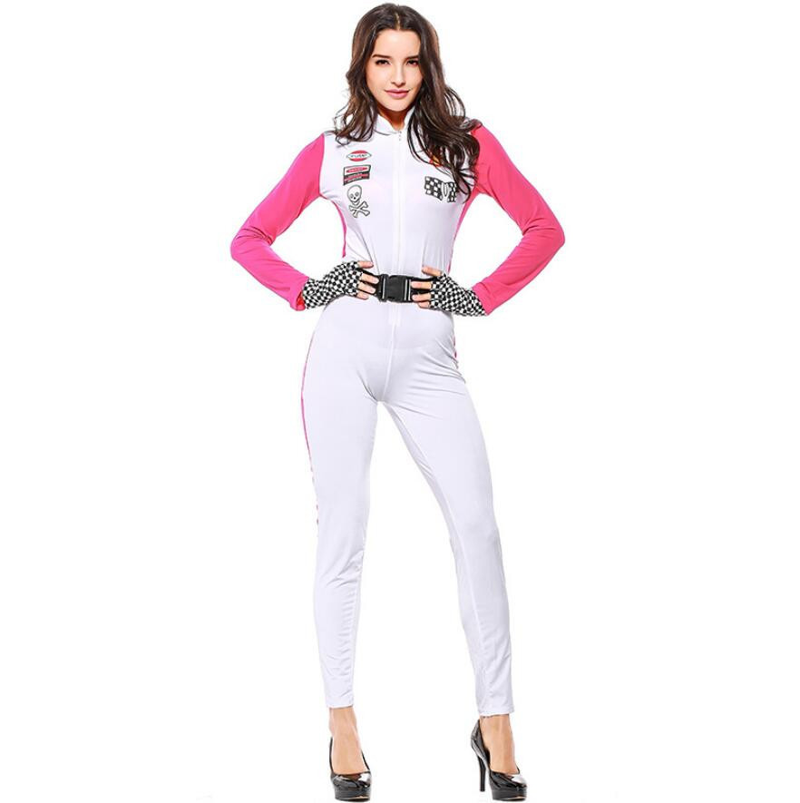 Sexy Racer Car Driver Uniforms Sexy Miss Racer Car Jumpsuit Costume Halloween Costumes Women Catsuit Nightclub Costume