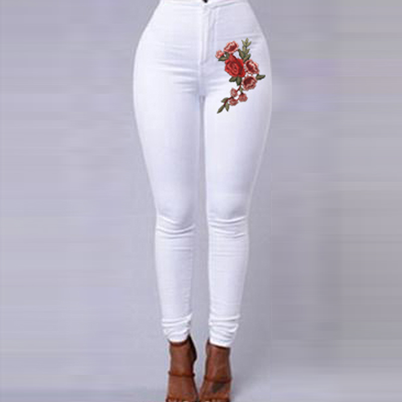 Jeans Trousers Pencil-Pants Embroidery Flowers Candy-Color Blue White High-Waist Woman