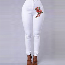 Candy Color Flowers Embroidery Skinny Jeans Woman White Blue High Waist Render Trousers Casual Pencil Pants Denim