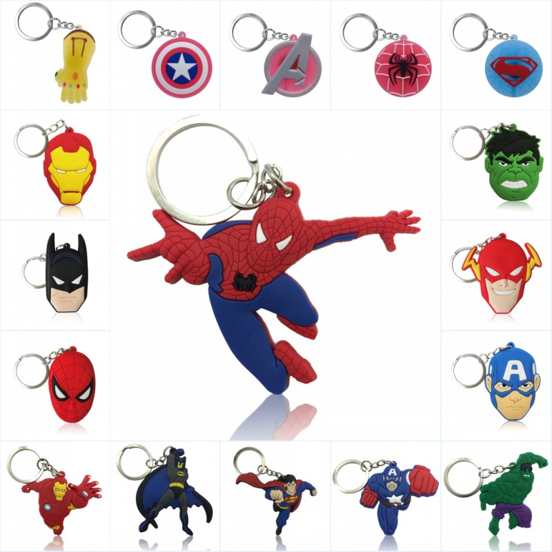 1pcs Avenger Keychain PVC Key Ring Superhero Trinket Key Chain Iron Man Hulk Spiderman Key Holder Chaveiro Kids Gift Party Favor