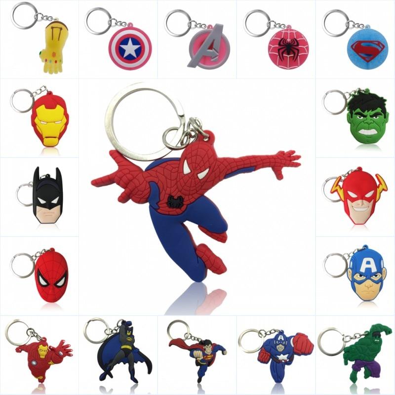 1pcs Avenger Keychain PVC Key Ring Superhero Trinket Key Chain Iron Man Hulk Spiderman Key Holder Chaveiro Kids Gift Party Favor