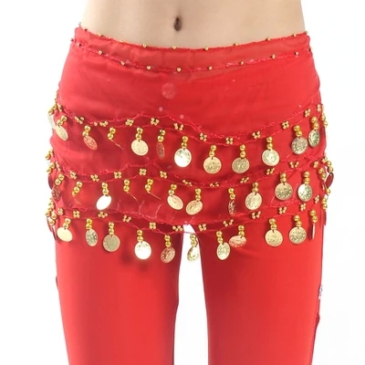 Child Waist Chain Hip Scarf Kids Belly Dance Indian Dance  Belt 12 Colors 68 Coins