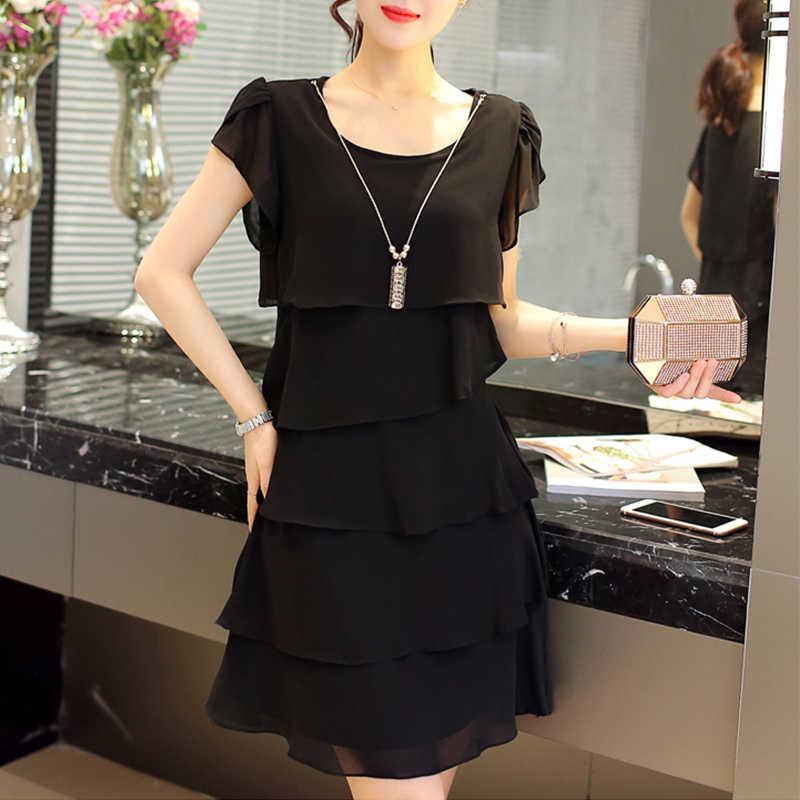 Новинка 2019, женское летнее платье больших размеров 5XL, свободные шифоновые красные платья с каскадными оборками, повседневные Элегантные вечерние коктейльные короткие платья