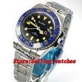 40 мм черный циферблат синий керамический ободок GMT светящиеся руки сапфировое стекло автоматическое движение Мужские механические часы