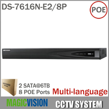 DS-7616N-E2/8P Network NVR with 16CH& 8POE HD 5MP for IP Camera Network Video Recorder Multi-language 2SATA for HDD