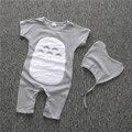Bebê Recém-nascido Da Menina do menino Roupas Curtas de algodão Impresso Macacão de Bebê Romper Bebek Giyim Natal Semelhante Carter Roupas romper + cap