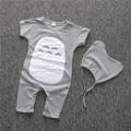 La Muchacha del muchacho Recién Nacido Bebé de la Ropa Corta de algodón Giyim Bebek Impreso Mono Del Bebé Del Mameluco de Navidad Similares Carter Ropa romper + cap