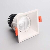 LED downlight 12 w COB Ultrabright led spot światła dla pokoju gościnnego czarny osadzony lampa sufitowa lampa kwadratowa Anti glare AC85 265V w Wbudowane lampy LED od Lampy i oświetlenie na