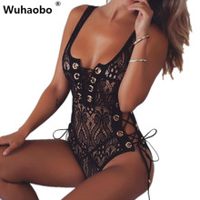 Wuhaobo Women Sexy Lace Hollow Out Lace Up Lined Nightclub Bodysuits Sleeveless See Through Party Slim Jumpsuit Overalls Rompers