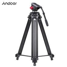 Andoer trípode profesional de aleación de aluminio para cámara de vídeo para Canon Nikon Sony DSLR grabadora Panorama Fluid cabeza de bola hidráulica