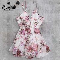 AZULINA 2017 Summer Holiday Floral Print Women Romper Jumpsuit Sexy Flower Chiffon Cami Strap Beach Romper