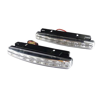 2pcs White Car Lights Daytime Running Light Led Auto Wihte 12v Dc 8 Led 6000k Super Bright Long Lifespan Day Light image
