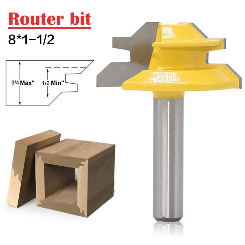 1Pc 45 Degree Lock Miter Router Bit 8*1-1/2 Inch Shank Woodworking Tenon Milling Cutter Tool Drilling Milling For Wood Carbide small lock miter router bit anti kickback 45 degree 1 2 1 1 2 1 2 shank tenon cutter for woodworking tools