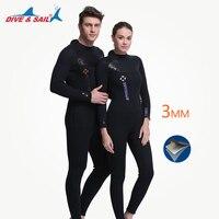 DIVE&SAIL 3MM Neoprene Men's Wetsuit Full Body Back Zipper Premium SCR Wetsuits Diving Suits Cool Black Brand NEW 3mm Wet Suit