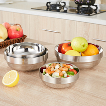New Insulated Food Jar Salad Mixing Bowl 4 Sizes Stainless Steel Food Container Bowl Fruit Salad