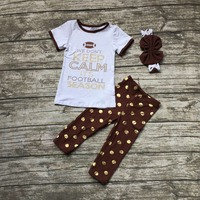 2016 Summer Baby Girls Football Keep Calm Short Sleeve Pants Suit Child Boutique Clothes Kids Gold