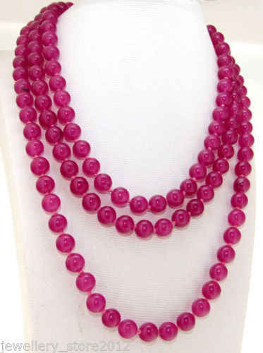 """925 silver  Women's Hot sale new Style >>>>>Long 50"""" Necklace gem 8mm Round Beads Knotted Each Beads Single"""