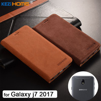 For Samsung Galaxy J7 2017 Case KEZiHOME Luxury Matte Genuine Leather Flip Stand Leather Cover Capa
