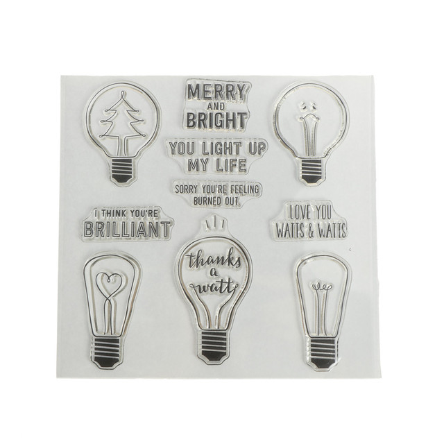 1pc Diy Bright Light Bulb Transparent Clear Silicone Stamps For Diy