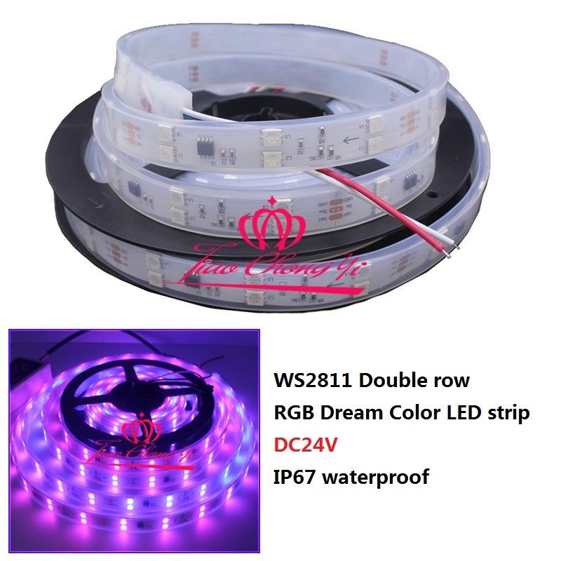 все цены на WS2811 5050 300LED RGB Dream Color addressable Double row led strip DC12V IP67 онлайн