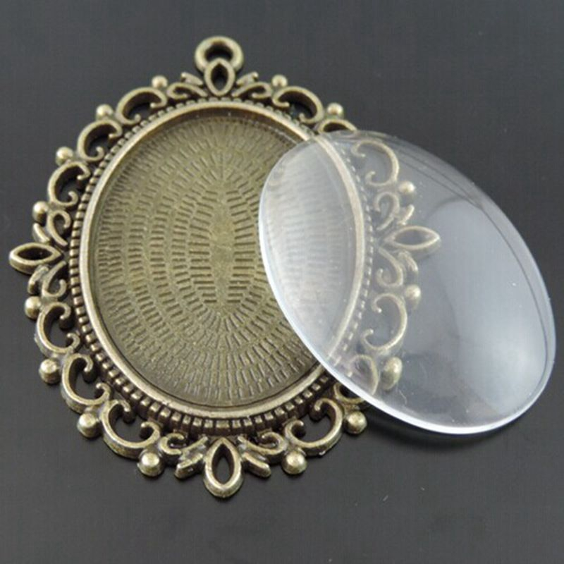 12pcs Black Tone Flower Lace Oval Cameo Setting Inner Size 25*18mm 35*29*2mm