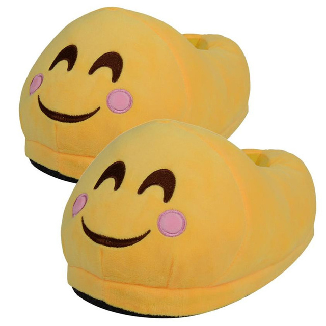 Продвижение Цена Наслаждайтесь Эмоций Плюшевые Тапочки Зимний Дом Крытый Счастлив Смайлики Обувь Мужчины Женщины Дети Мягкое Выражение Pantuflas
