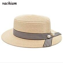 Vachiam superior plana sombrero de paja del verano del resorte mujeres viaje  CAPS ocio playa Sombreros perla moda transpirable A.. d597c48ab14